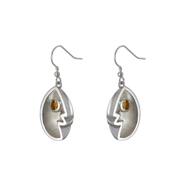 sterling silver angel wing earrings with golden citrine gemstones