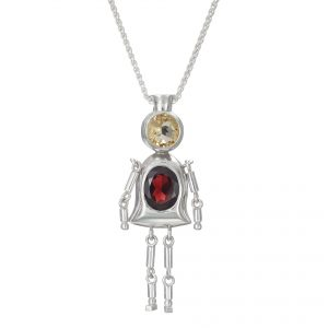 Sterling Silver Pendant Yellow Citrine, Red Garnet Gemstones