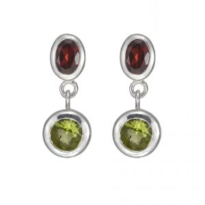 Stud Drop Sterling Silver Red Garnet ,Green Peridot Gemstones