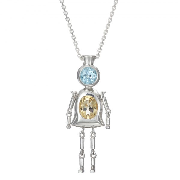 Sterling Silver Pendant Sky Blue Topaz, Yellow Citrine Gemstones