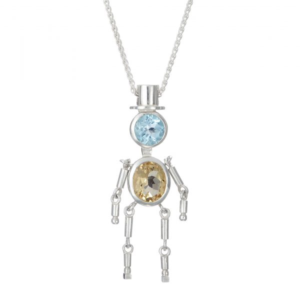 Sterling Silver Pendant Sky Blue Topaz, Pale Yellow Citrine Gemstones
