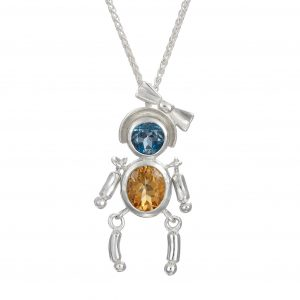 Sterling Silver Pendant London Blue Topaz ,golden Yellow Citrine Gemstones
