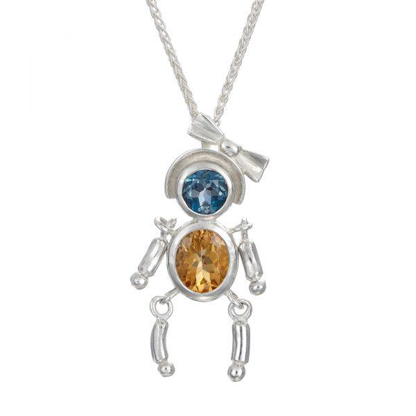 Sterling Silver Pendant London Blue Topaz ,golden Yellow Citrine Gemstones