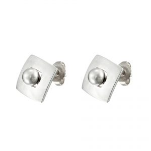 Sterling Silver Stud Earrings Round Peg in a Square Hole