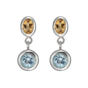 Stud Drop Sterling Silver Sky Blue Topaz,Citrine Gemstones