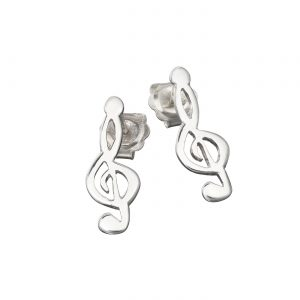 Treble Clef Sterling Silver Stud Drop Earrings