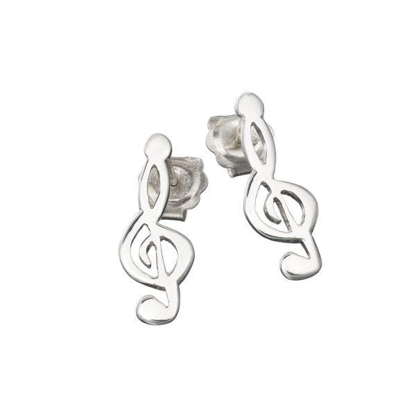 Treble Clef Sterling Silver Stud Drop Earrings