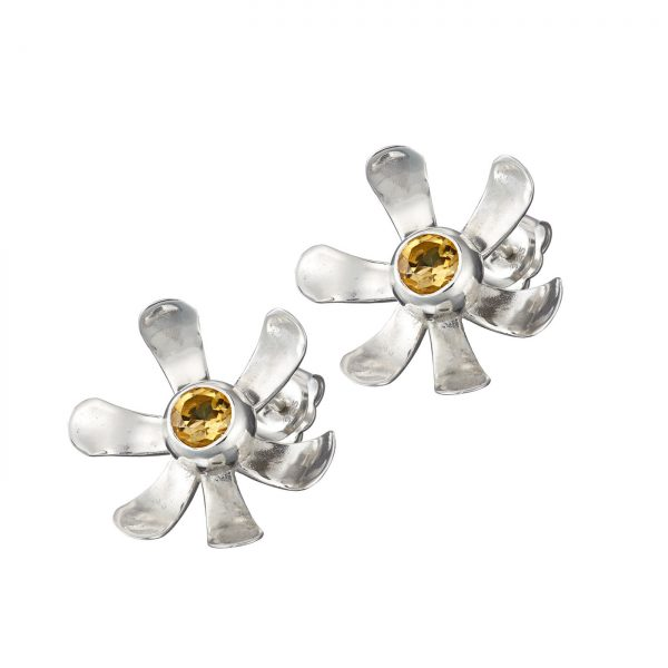 Daisy Stud Drop Sterling Silver Earrings