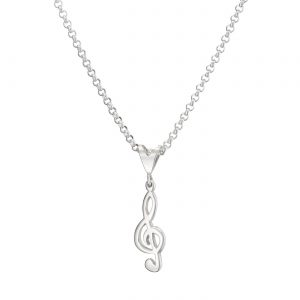 Treble Clef Sterling Silver Pendant Large