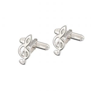 Treble Clef Sterling Silver Cufflinks
