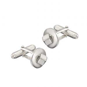sterling silver square peg in a round hole cufflinks