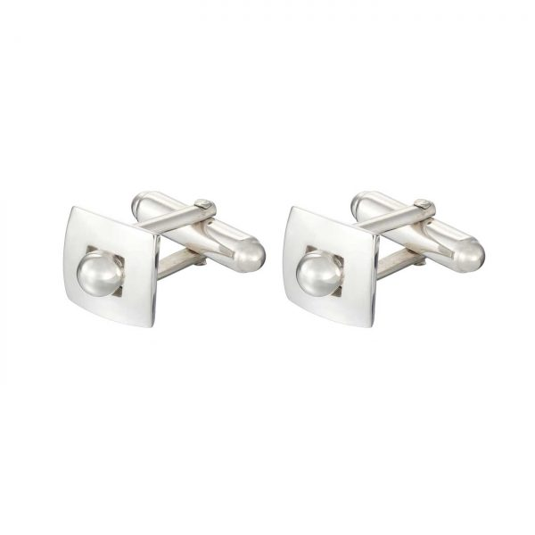 sterling silver sphere peg in a square hole cufflinks